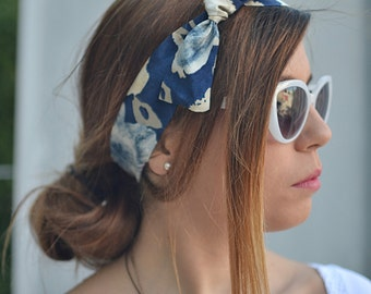 Blue Turban, Workout Head Scarf, Navy Blue Headband, Headband Adult, Woman Top Knot, Head Wrap, Pin Up Headband, Bow Headband,  Women Turban