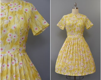1960's pink and yellow floral day dress • large