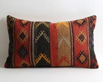 12x20 black red striped kilim pillow cover