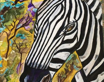 Impressionist zebra etsy original oil painting of a zebra animal painting zebra painting signed by artist altavistaventures Gallery