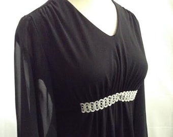 Vintage Maxi Dress Black Polyester Dress with Sheer Bell Sleeves No. 38