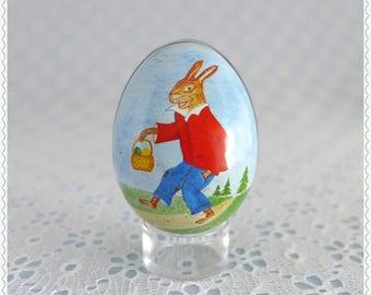 Decorative Egg Tin, Vintage Collectible, Small Metal Egg, Bunny Rabbit, Peter Cottontail, Easter Decor, Made in Switzerland