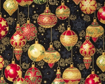 Christmas holiday ornaments fabric - Christmas fabric - Robert Kaufman Holiday Flourish 9 #16240