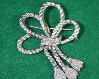 Vintage Monet Silver Braided Rope Brooch