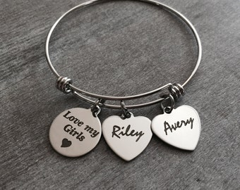 Love my Girls, Mom, Mommy, Personalized, Family, Grandma, Keepsake, Name, Stainless steel, Silver Bangle, Silver Bracelet, Charm Bracelet,