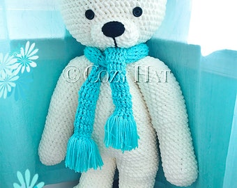READY TO SHIP! Large Polar Bear with Scarf. Stuffed Animal Hand Made Crochet One Of A Kind. Bear Toy  Doll Plush Stuffed Animal.