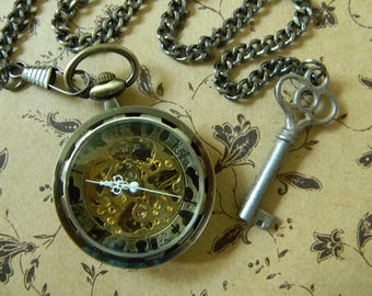 Beautiful Self Winding & Hand Wound Bronze Tone Steampunk Style Pocket Watch w/Authentic Antique Key Fob. Neo-Victorian Style Pocket Watch.