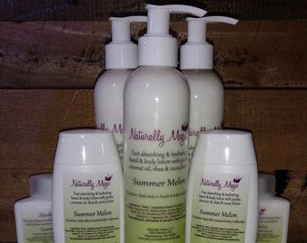 New Scent! Summer Melon Hand and Body Lotion 8oz. Pump Bottle with Jojoba & Coconut Oil, Shea and Cocoa  Butter