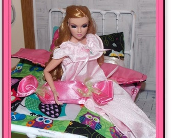 """Wise Guy-Pink Quilted Owl Bedding. Comforter & Pillows for 10""""- 13"""" Tall  Fashion Doll House Accessories. Integrity Toys doll not included."""