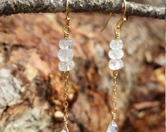 Faceted moonstone dangle earrings on gold