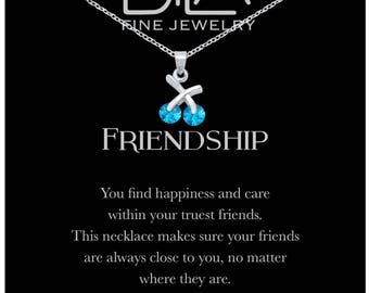 DTLA Friendship Necklace in Sterling Silver with Inspirational Quote Card - Topaz Blue CZ