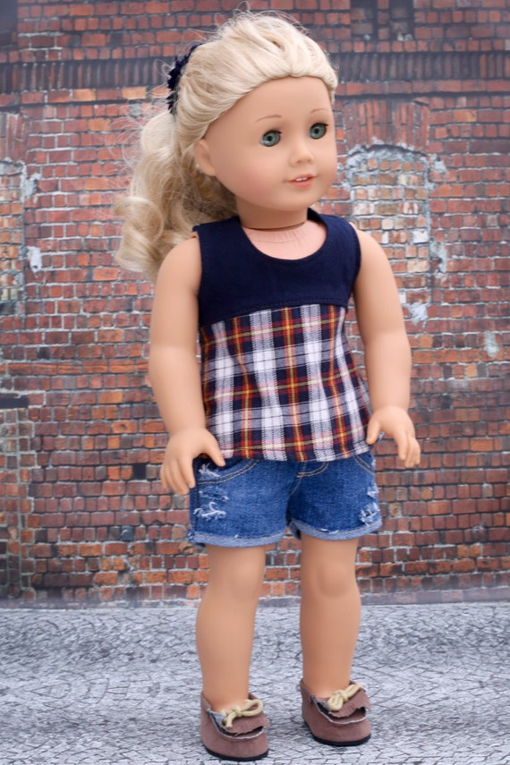 American Made Doll Clothes - Navy Plaid Sleeveless TOP for 18 Inch