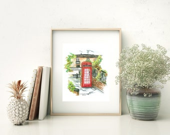 London Calling - Watercolor Print, Fine Art Reproduction, London Landmark World Travel Art, Red Telephone Box, Spring in London Art Print
