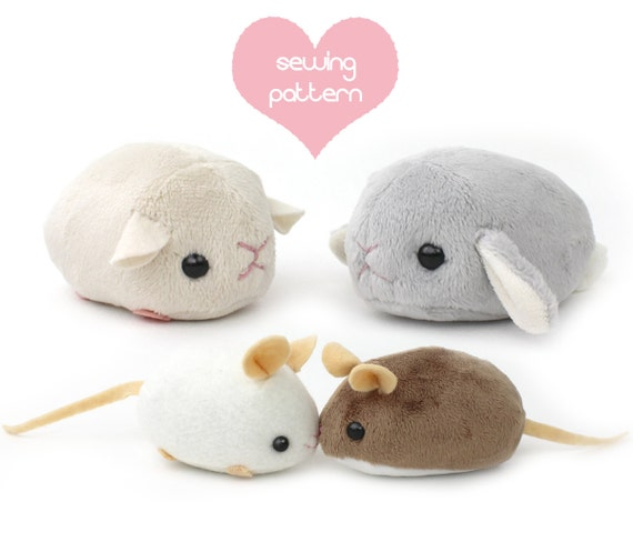 Pdf sewing pattern plush hamster mouse rat guinea pig for Sewing templates for stuffed animals