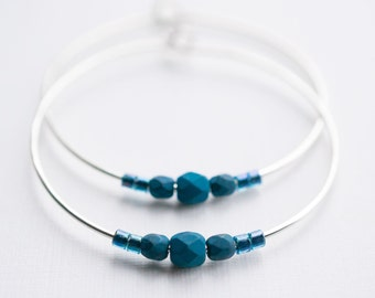 cold moon / midnight navy blue and silver hoop earrings
