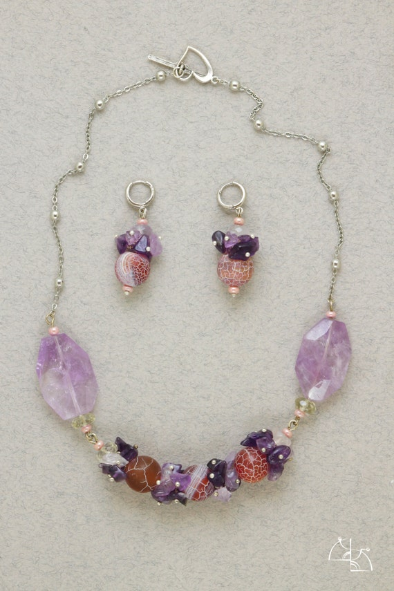 Amethyst Dreams. Beautiful jewelry set. Perfectly necklace and spherical earrings. Super gift for her. Fashion
