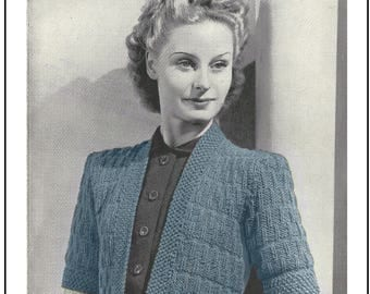 1940s Wartime  Bolero Knitting Pattern  - Instant Download - PDF