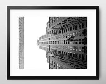 Chrysler Building New York Art Print,  modern black and white skyscraper photography, wall art, monochrome architecture photography gift