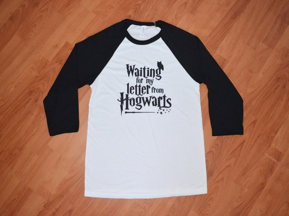 Kids waiting for my letter from hogwarts raglan shirt for Hogwarts letter shirt