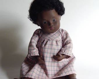 """11"""" African American Girl Baby Doll Thick Hard Plastic 13 oz Movable Arms + Legs"""