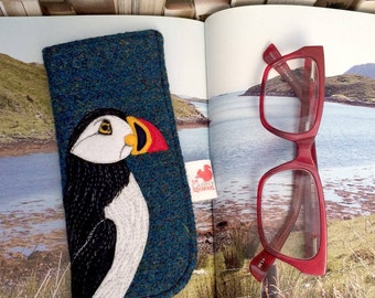 Puffin glasses case - blue Harris Tweed glasses case - puffin spectacles case - puffin sunglasses case - tweed specs case - puffin gift