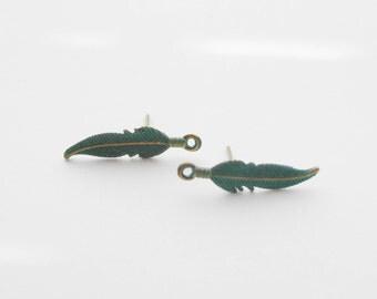 Feather Earrings, Feather Stud Earrings, Verdigris Feather Earrings, Boho Stud Earrings, Dainty Earrings, Woodland Earrings, Gifts for Women