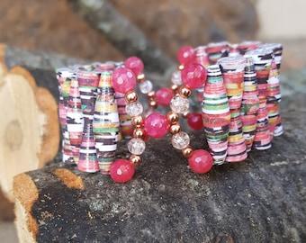 Pink Papaper Bead Cuff Bracelet