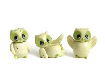 Vintage Plastic Owl Figurines, Miniature Owls, Terrarium Decor, Owl Cake Toppers, Light Green Owls