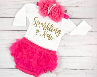 Newborn Girl Coming Home Outfit Baby Shower Gift Baby Girl Clothes Sparkling New Outfit Baby Girl Clothes Pink and Gold Outfit