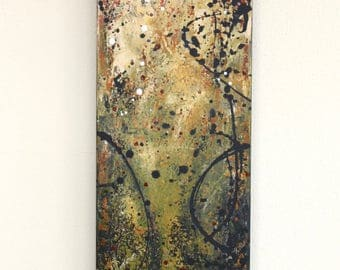 abstract yellow rust orange textured modern art original acrylic Leah Fitts Golden Day