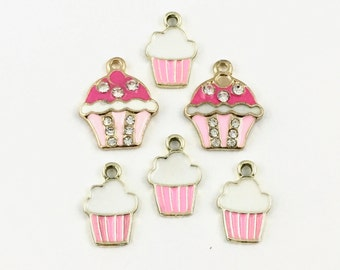 6 cupcake charms gold and  pink enamel 16 to  20mm# CH 130