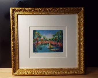 J Wolf Framed Sailboat Geclee Print Signed and Numbered 132/350