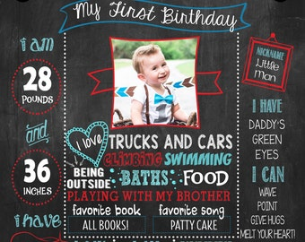 Little Man Chalkboard Poster, Mustache Birthday Poster, first birthday poster, DIGITAL FILE
