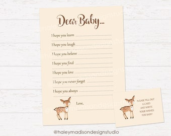 Woodland Baby Shower Wishes for Baby card, Dear Baby Cards, Woodland Baby shower DIGITAL FILE HM111