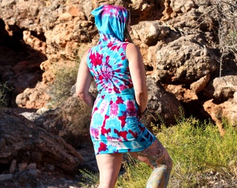 Tie Dye Hooded Dress, OOAK Organic Bamboo Cover Up, Trippy Handmade Summer Tank Dress with Hood and Pocket