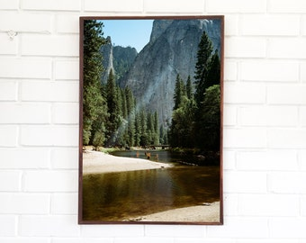 Yosemite Valley Art Print / Northern California Photography / National Park Landscape / Forest Mountain View / Tall Trees Summer Lake Creek