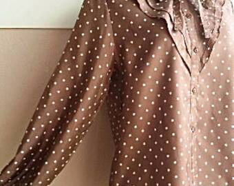 70s Silky Brown Polka Dot Blouse -  Ruffle Top Blouse - Japanese Vintage Blouse  - S - Smaller M