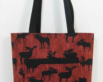 Tote Bag, Moose Zippered Tote Bag, Knitting Bag,