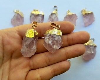 Pink Rose Quartz Pendant, Gold Rose Quartz Necklace, Raw Rose Quartz Necklace, Rose Quartz, Gemstone Necklace Pendant, Crystal Pendant