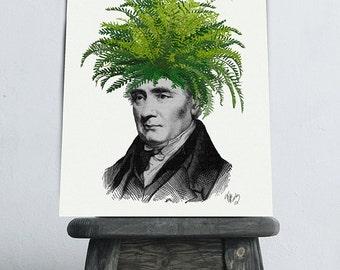 Fern Head, Plant Head - mens gift for him Gift for boyfriend surreal victorian gentleman edwardian gentleman geek gift for husband unusual