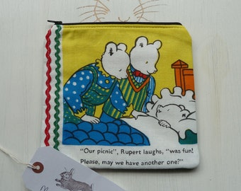 Rupert The Bear Makeup Bag Clutch Purse Extremely Rare Vintage Fabric Cosmetic Pencil Case Pouch Padded Lined