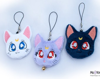 Artemis + Luna + Diana plush charm set (Sailor Moon)