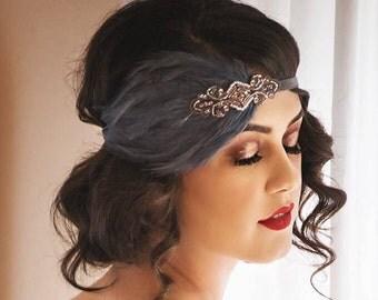 Rose gold headband, rose gold wedding headband, rose gold bridal headpiece, great gatsby wedding, gray feather fascinator, beaded headband