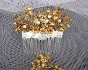 Myrtle hair comb to the wedding, gold plated Myrtle bridal hair comb, wedding Crown vintage 40