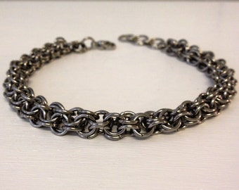 Stainless Steel Bracelet, Chainmail Jewelry, Stainless Steel Jewelry, Mens silver metal bracelets, Steel Jewelry, mens gift, Gift for Him