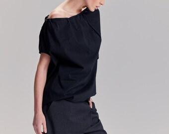 Black Balloon Top / Boatneck Top / Loose Black Top / Short Sleeved Top / Casual Women Top / Asymmetrical Black Top / TBLN17BL