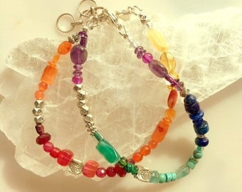 Colorful Gemstone Bracelets - Warm and Cool Colors - Bracelet Set - Chakra Bracelets
