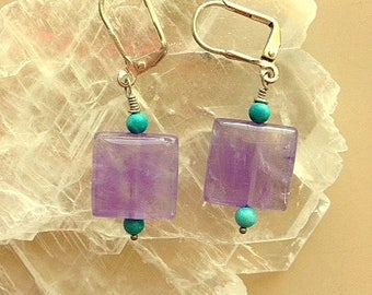 Lavender Amethyst and Turquoise Earrings - Square Amethyst Earrings With Lever Backings