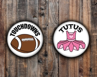 Touchdown and Tutus gender reveal pins, pink tutu and brown football.