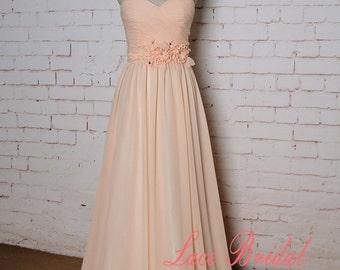 Simple Peach Bridesmaid Dress with Sweetheart Neckline A-line Chiffon Skirt Prom Dress